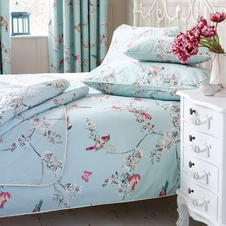 Featuring a bird and floral printed design in pink and white with ... : duck egg blue quilt cover sets - Adamdwight.com