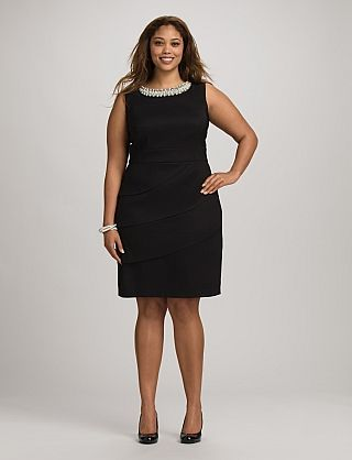 e60ec518a61 Plus Size Tiered Pearl Neck Dress