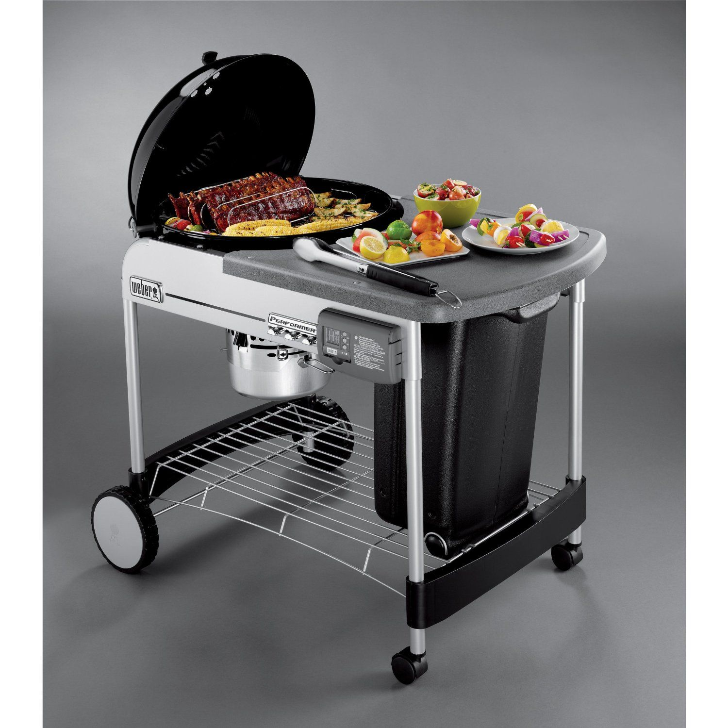 Weber Performer Platinum Charcoal Grill Review This Is So Cool A Charcoal Grill That Is Self Lighti Charcoal Grill Weber Charcoal Grill Gas And Charcoal Grill