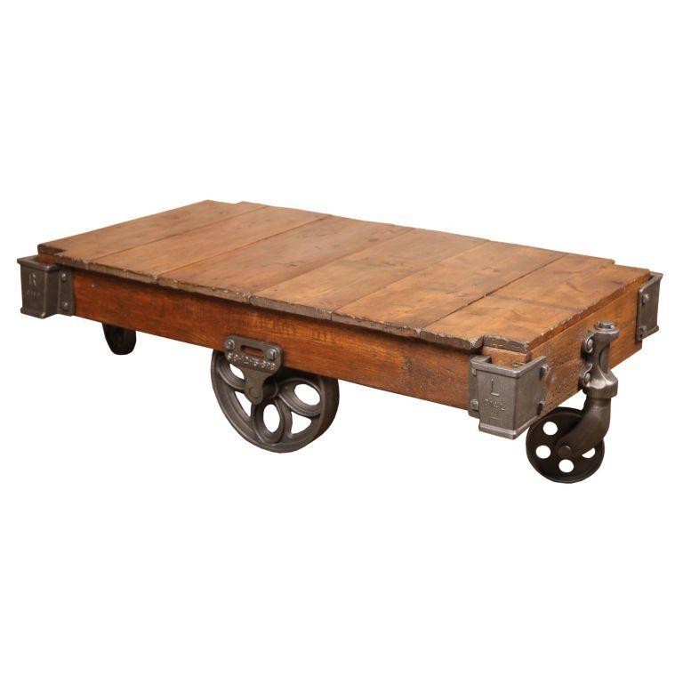 Vintage Industrial Iron Transfer Cart Coffee Table: Vintage Industrial Rustic Wood & Cast Iron Factory Coffee
