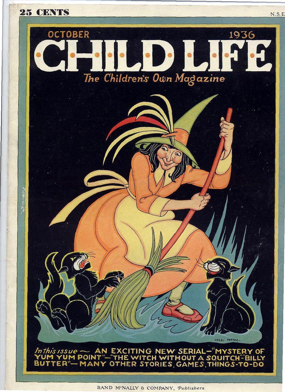child life magazine oct 1936 Vintage halloween cards
