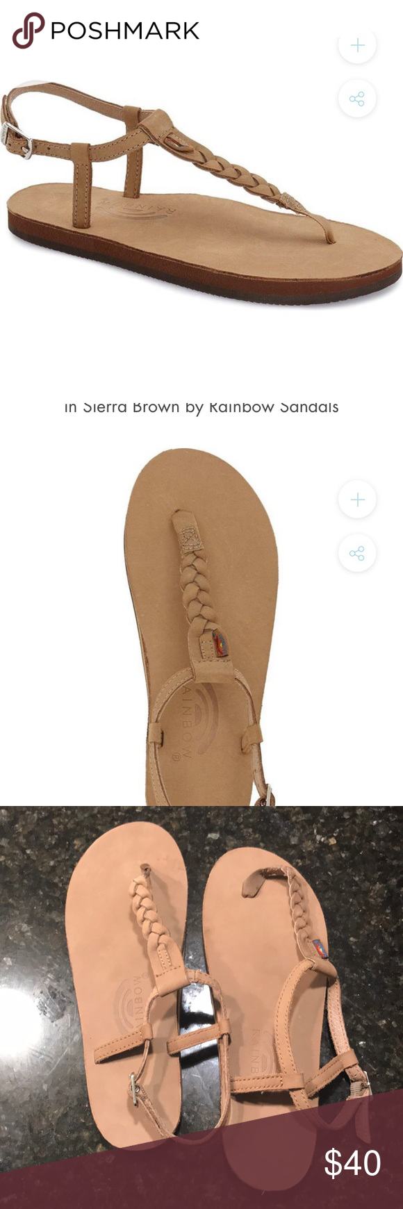9bba5bff02a Tag is visible but scratched off. Size XL or women s 8.5-9.5. Light brown  color. Perfect condition. Purchased from Nordstrom Rack. Rainbow Shoes  Sandals