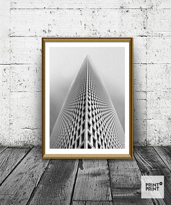 Architecture Print, Building Print, Sky, Abstract, Minimal Print, Black And  White Wall Art, Last Minute Gift, Printable Decor