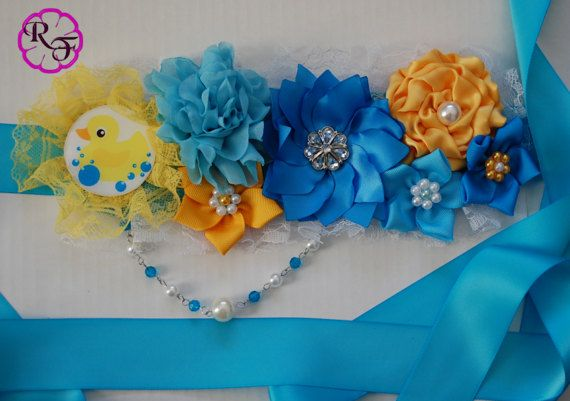 Pato De Ducha De Bebe Maternidad Faja Chico Azul Y Amarillo Baby