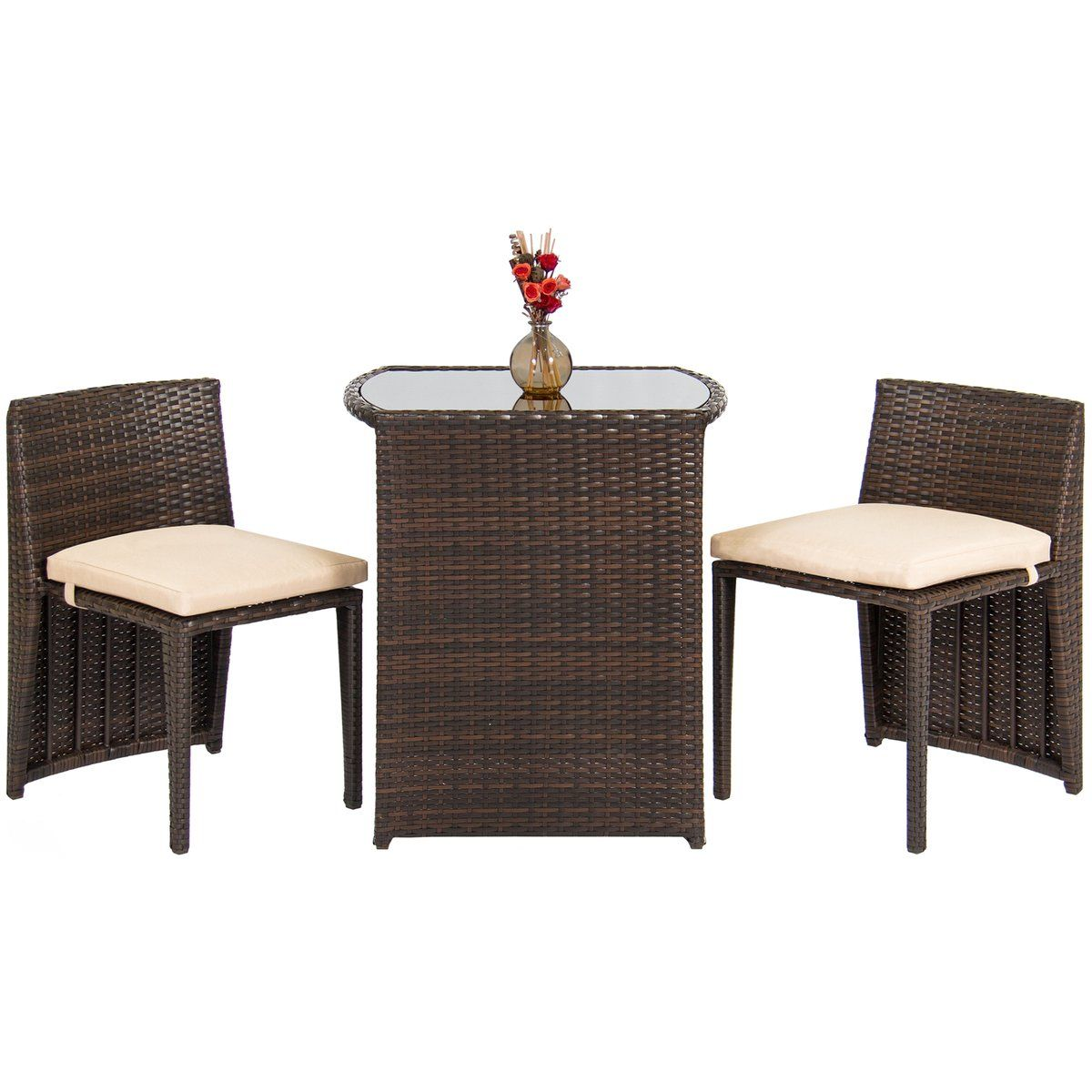 3 Piece Wicker Bistro Outdoor Furniture Set W Glass Top Table In