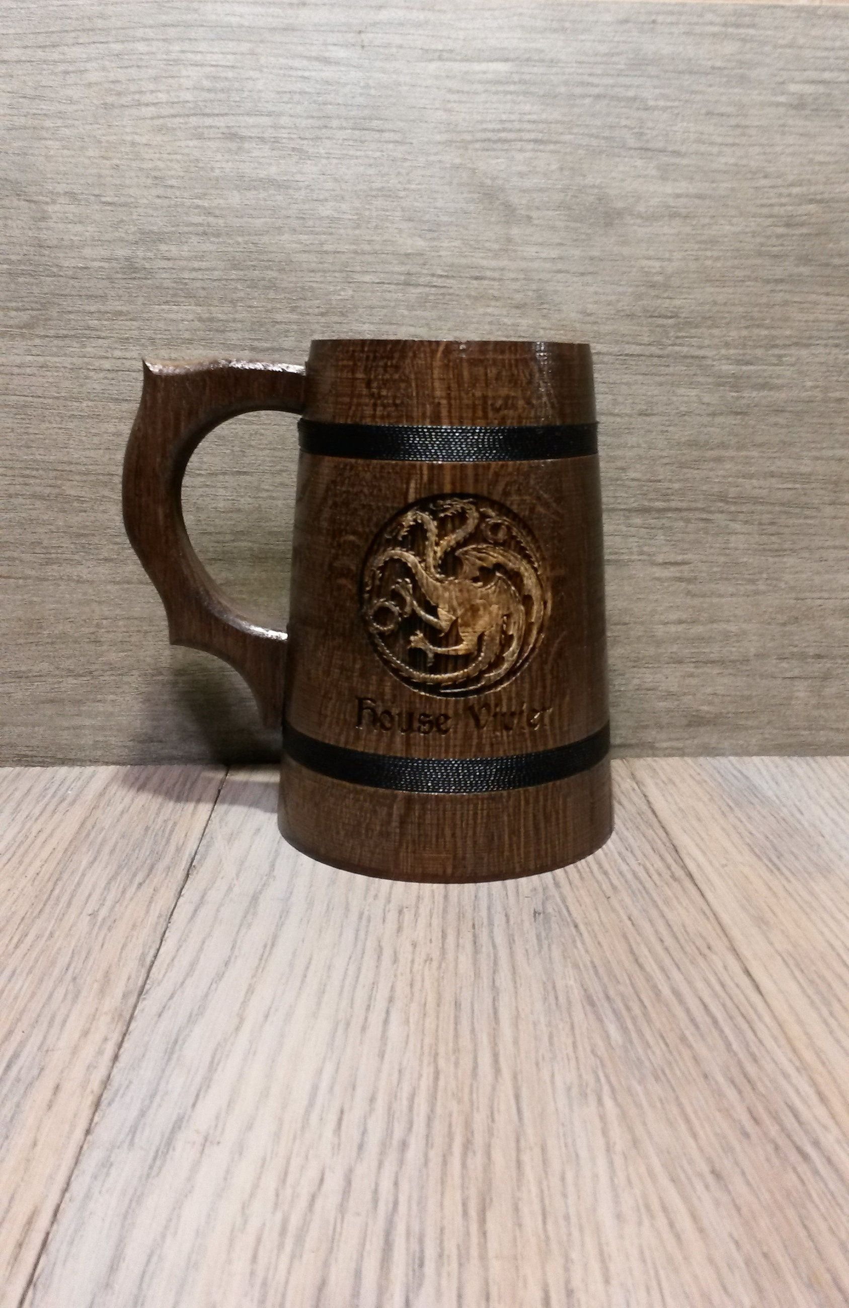 Game of Thrones wooden beer mug, gift for him, Your name