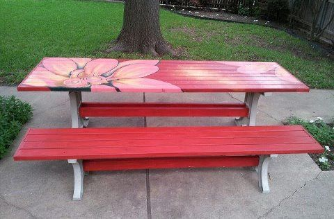 Pin By Dayna King On Outdoors Painted Picnic Tables Picnic Table Decor Picnic Table