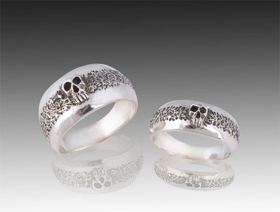 Silver Skull Wedding Ring Set Solid Sterling Silver Wedding Ring