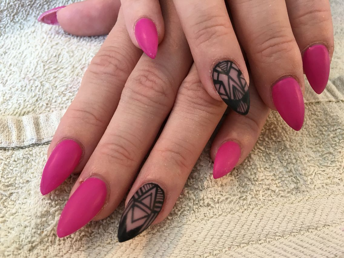 Matte fuchsia with hand painted black design almond shaped nails ...