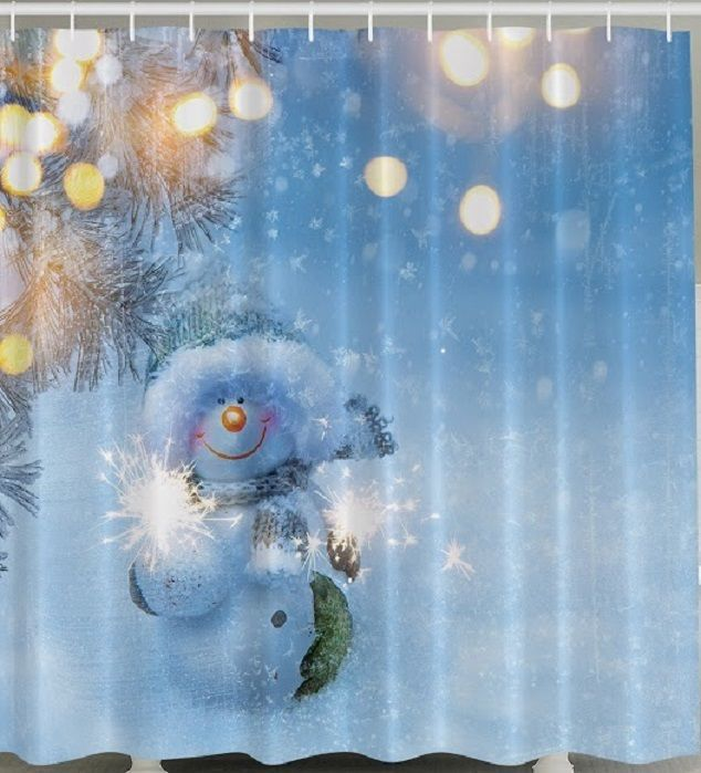 Kids Adorable Snowman Shower Curtain Snow Sparkles Holiday 70