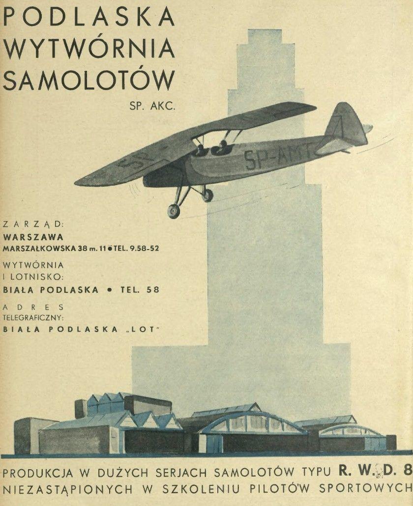 Reklama Podlaska Wytwórnia Samolotów Rwd 8 Szybowce 1927