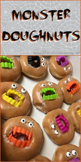 Monster Doughnuts Halloween food party recipe idea easy DIY donut - halloween catering ideas