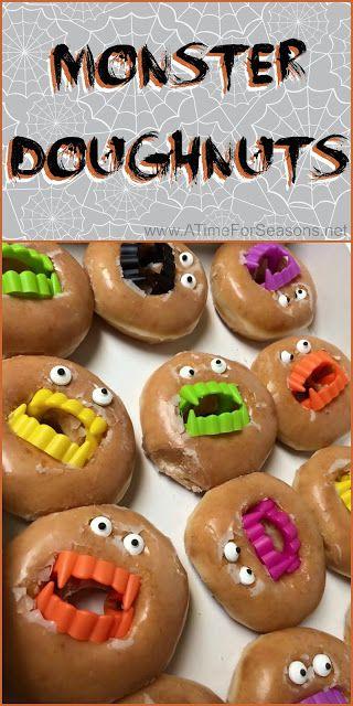 Monster Doughnuts Halloween food party recipe idea easy DIY donut ...