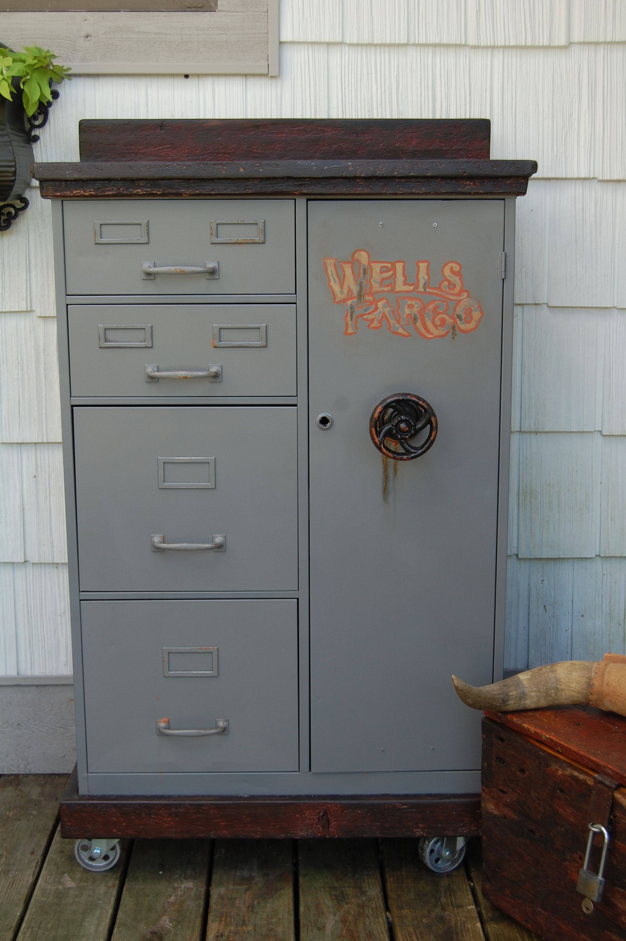 Vintage Repurposed Steelmaster File Cabinet With Steel Wheels Barn Wood Top And Hand Painted Wells Fargo L Vintage Repurposed Office Seating Home Furnishings