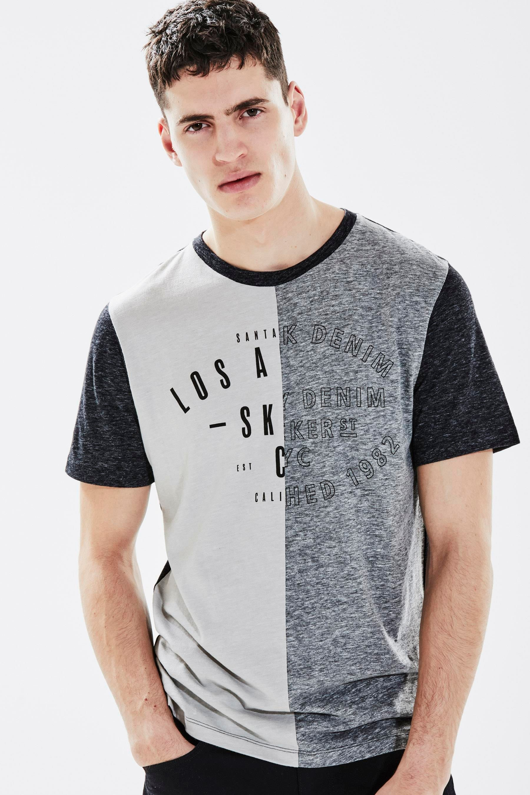 34acf1f41a Adidas Homem · Camisas Estampadas · Buy Grey Split Graphic T-Shirt from  Next France Estampa Masculina