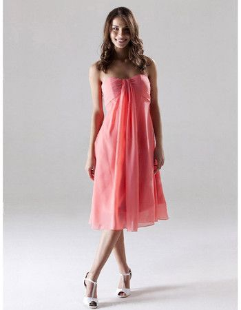 Custom Empire Sweetheart Knee Length Chiffon Bridesmaid Dresses