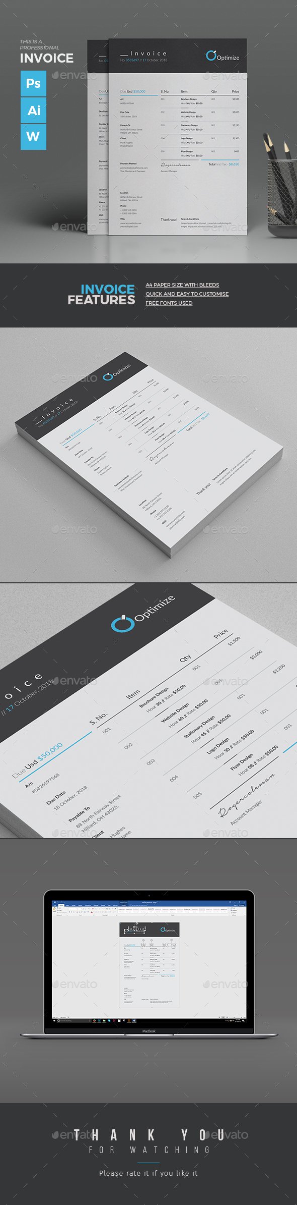 Minimal Invoice Template Design MS Word