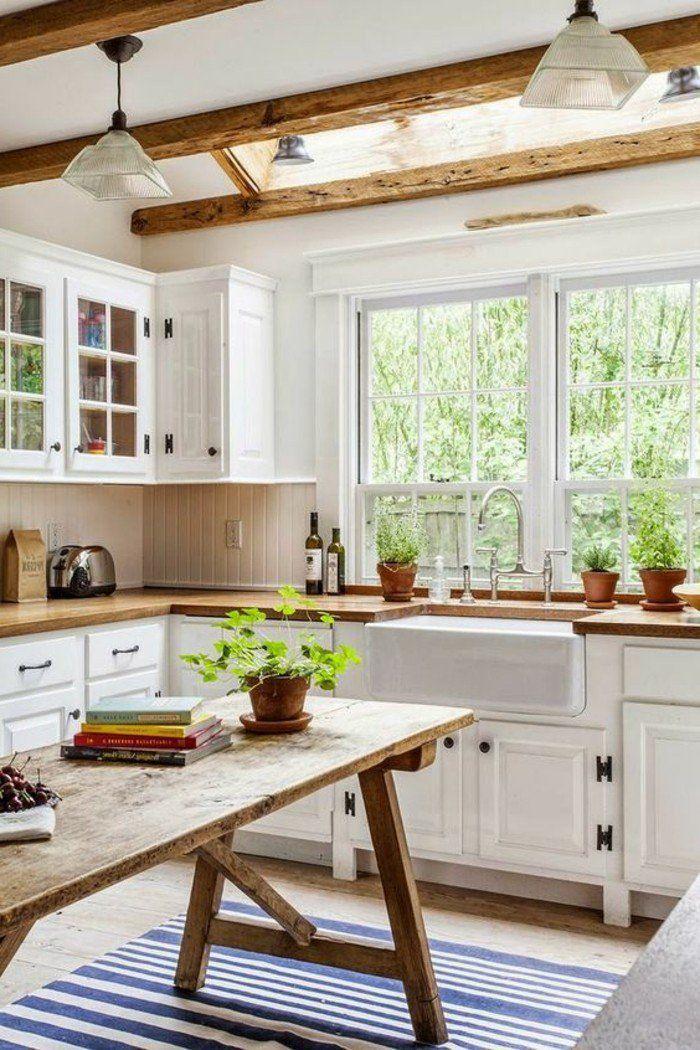 cosy deco, cuisine blanche en bois, livres, grandes fenêtres | Déco ...