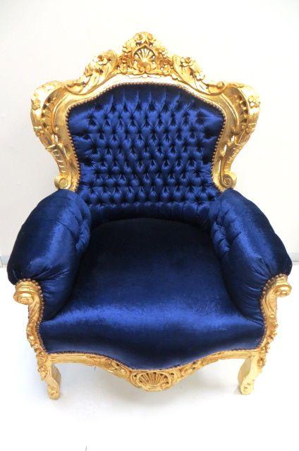 Royal BlueGold Throne Chair  Baroque  Throne chair