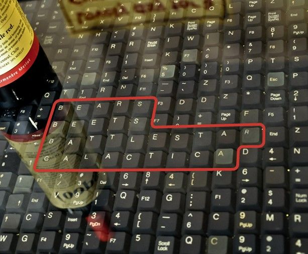 Bar top made with keys from computer keyboards. Very cool!! For my ...