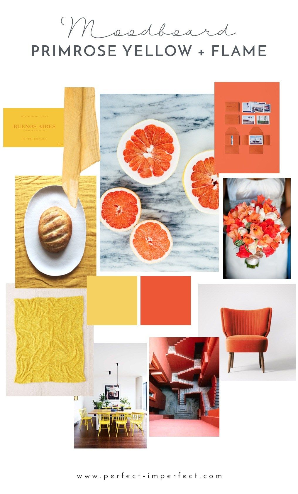 Colours Mood mood board with pantone colors: primrose yellow and flame