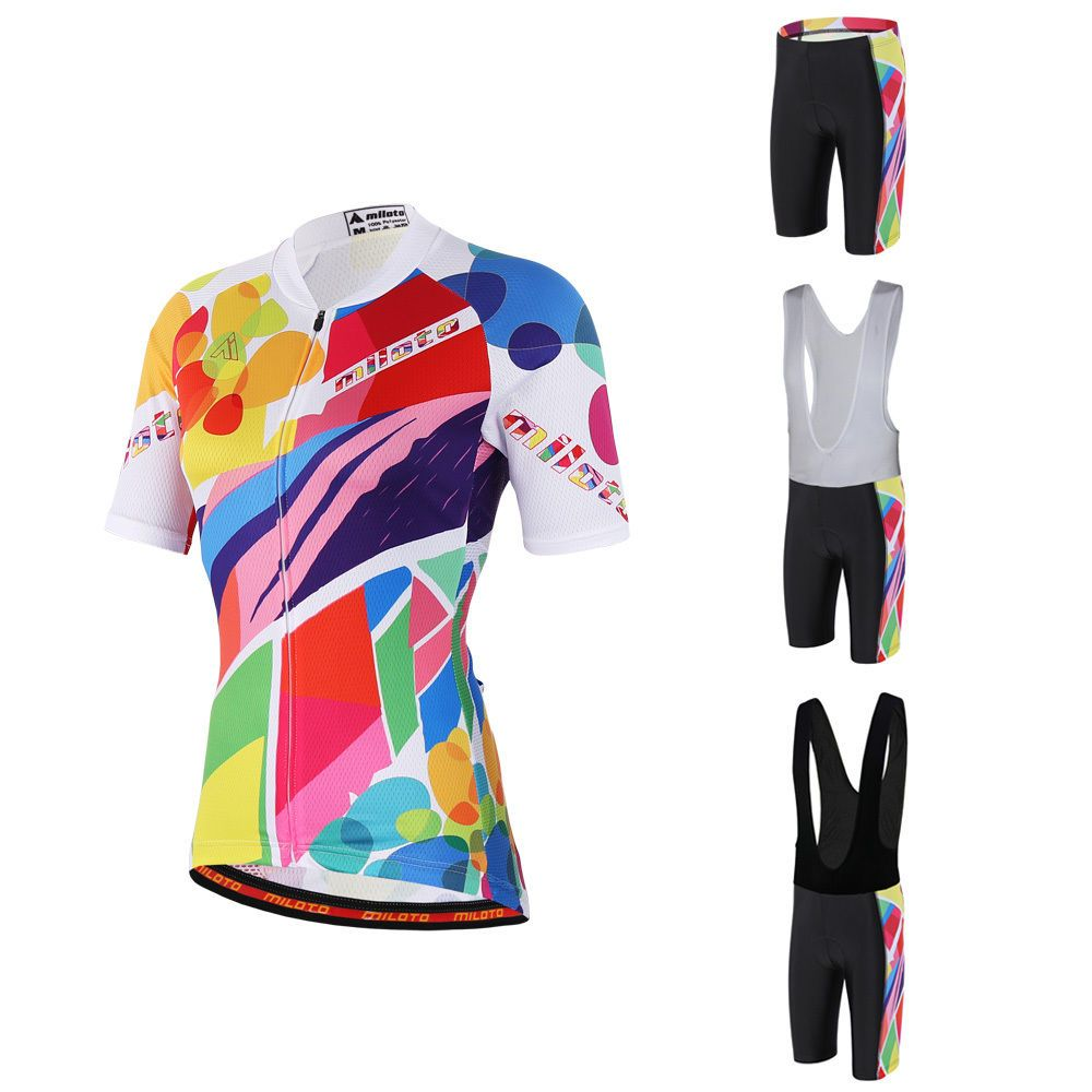 87e8331a2 Colorful Women s Road Bike Set Ladies Cycling Jersey and Bicycle Padded (Bib)  Shorts Mountain