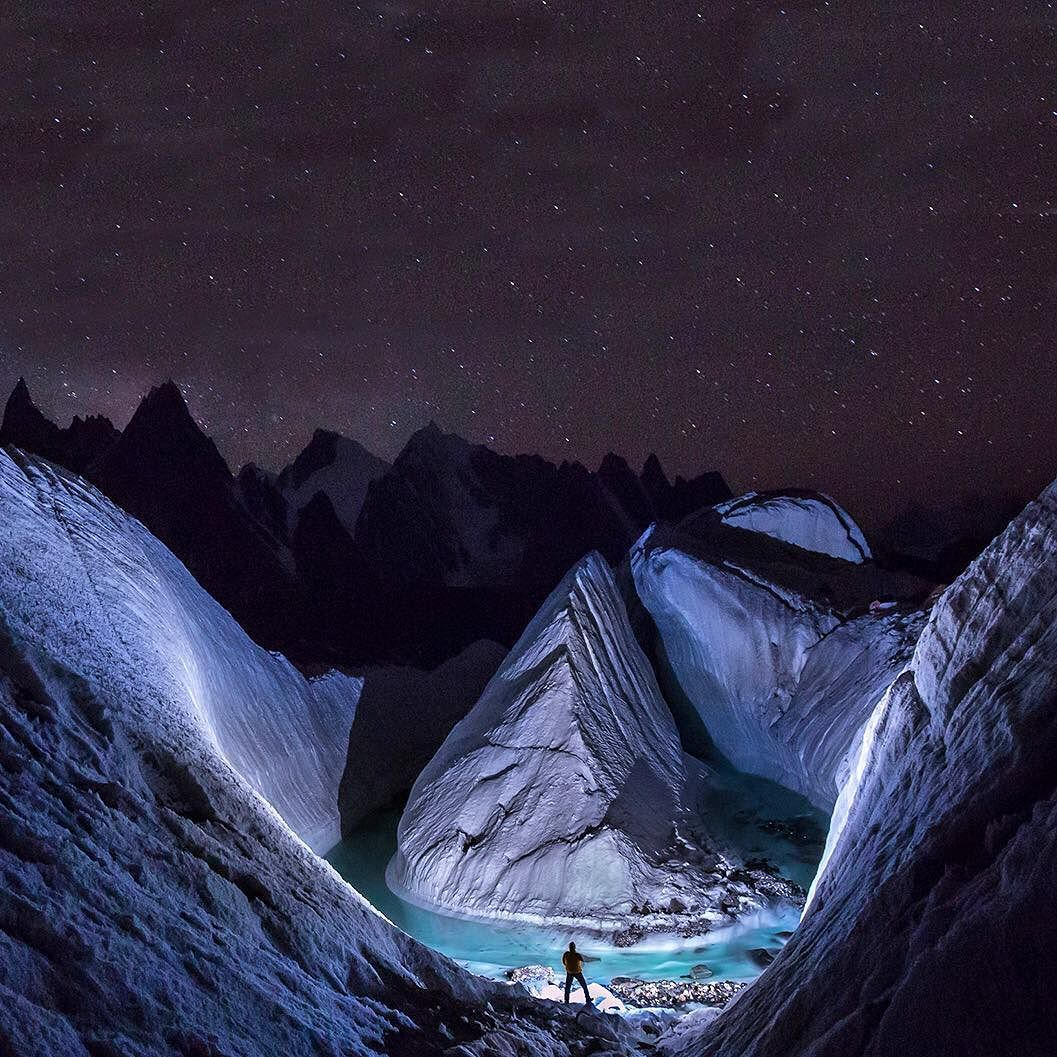 The changing of the times. Photographer David Kaszlikowski uses a drone to capture the icy glaciers of Pakistan in a spectacular photographic series. Read the full story and view the images over on the magazine. #davidkaszlikowski #glacier #photography #opumo by opumo