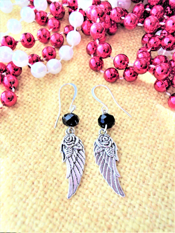 Silver Angel Wing Earrings, Black Crystals, Angel Wing Jewelry ...