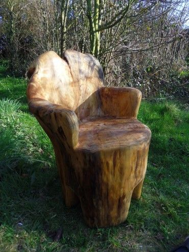 Chainsaw Carved Seat Woodworking Carving Rustic Log