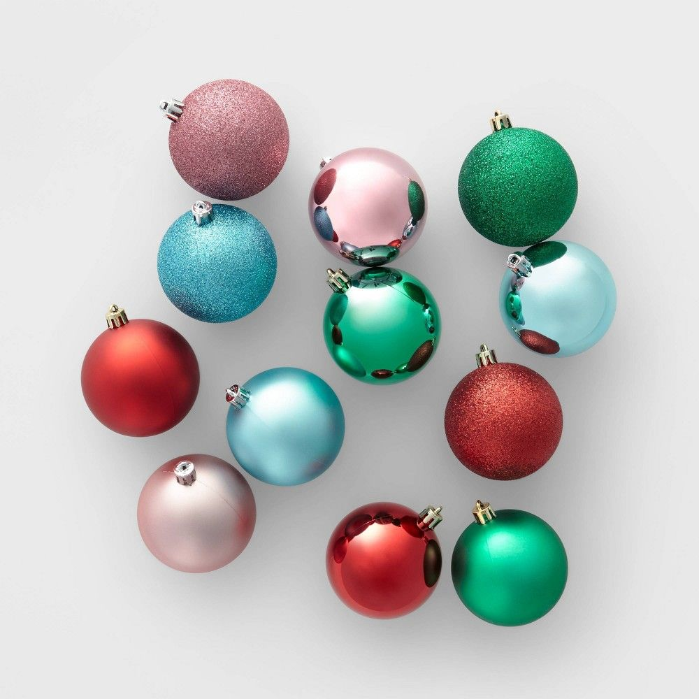50ct 70mm Shatter Resistant Christmas Ornament Set Pink Green And