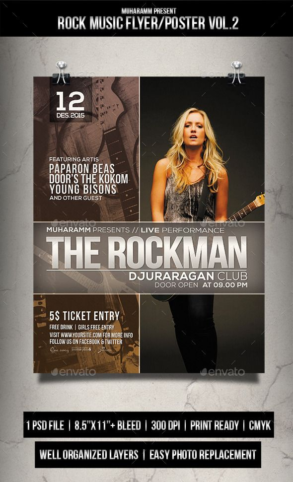 Rock Music Flyer / Poster Music flyer, Rock music and Flyer template - music flyer template
