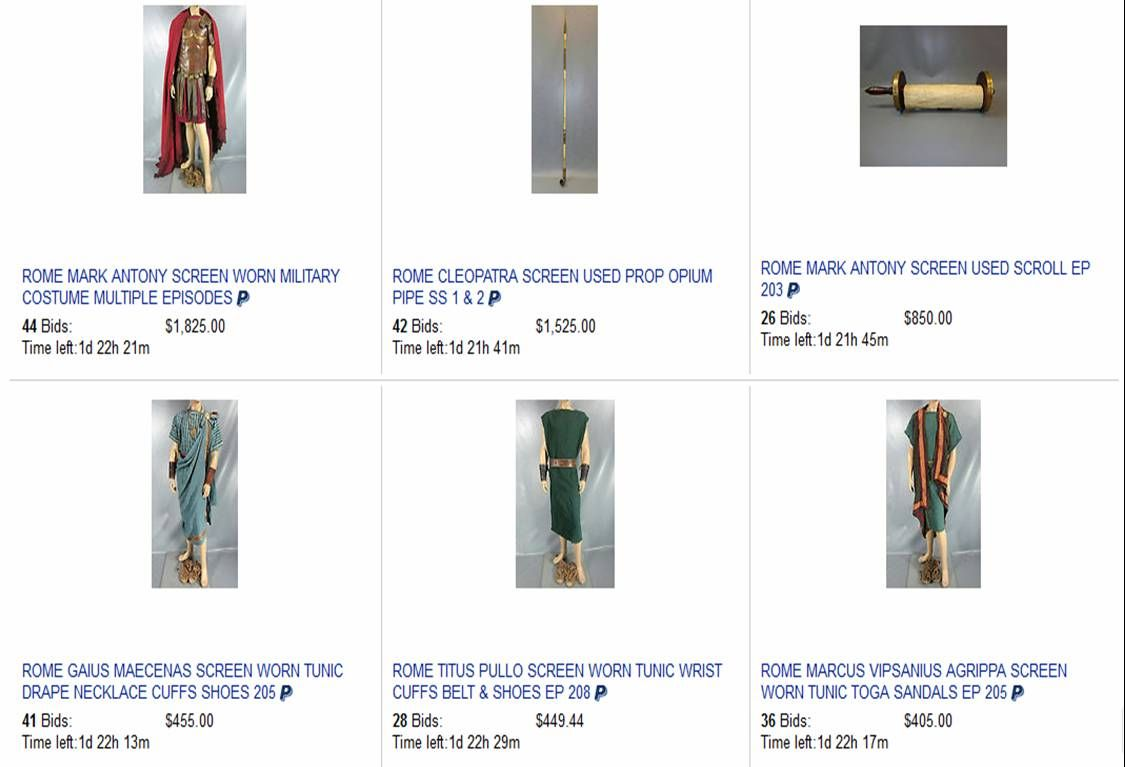 """HBO's """"Rome"""" Props and Costumes listed by VIP Fan Auctions"""