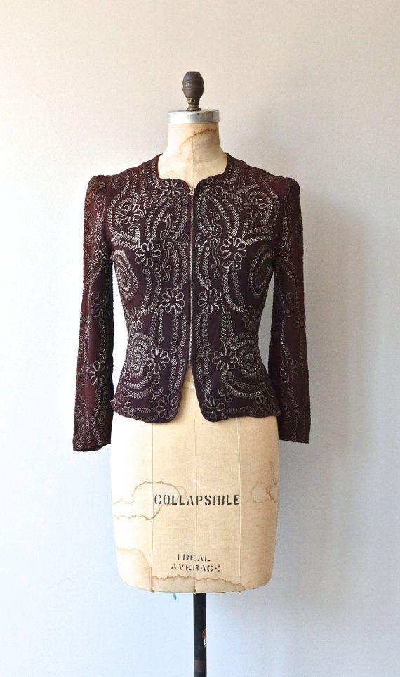 Avignon soutache jacket vintage 1940s jacket rayon by DearGolden