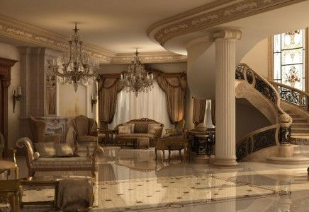 Ashraf el serafey villa interior and exterior design for Classic villa interior design