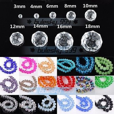 100pcs 10mm Loose Crystal Spacer Faceted Rondelle Glass Beads Wholesale Lots