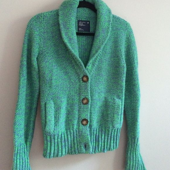 "American EAGLE outfitters sweater Heavy chunky knit 3 button waist length Long sleeve. Multi color, green blue nice condition. Length 22""    Width 17"" American Eagle Outfitters Sweaters Cardigans"