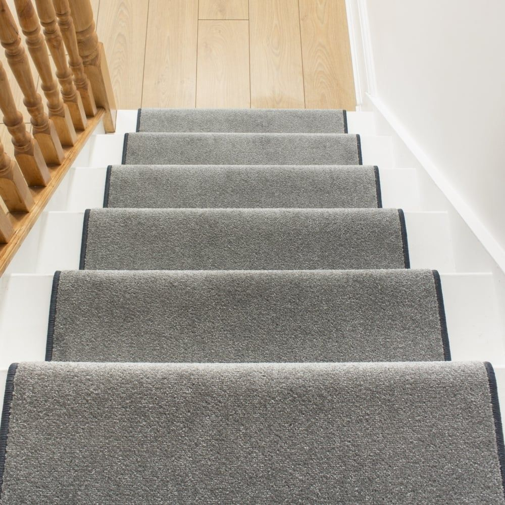 Festival Light Grey Plain Stair Runner