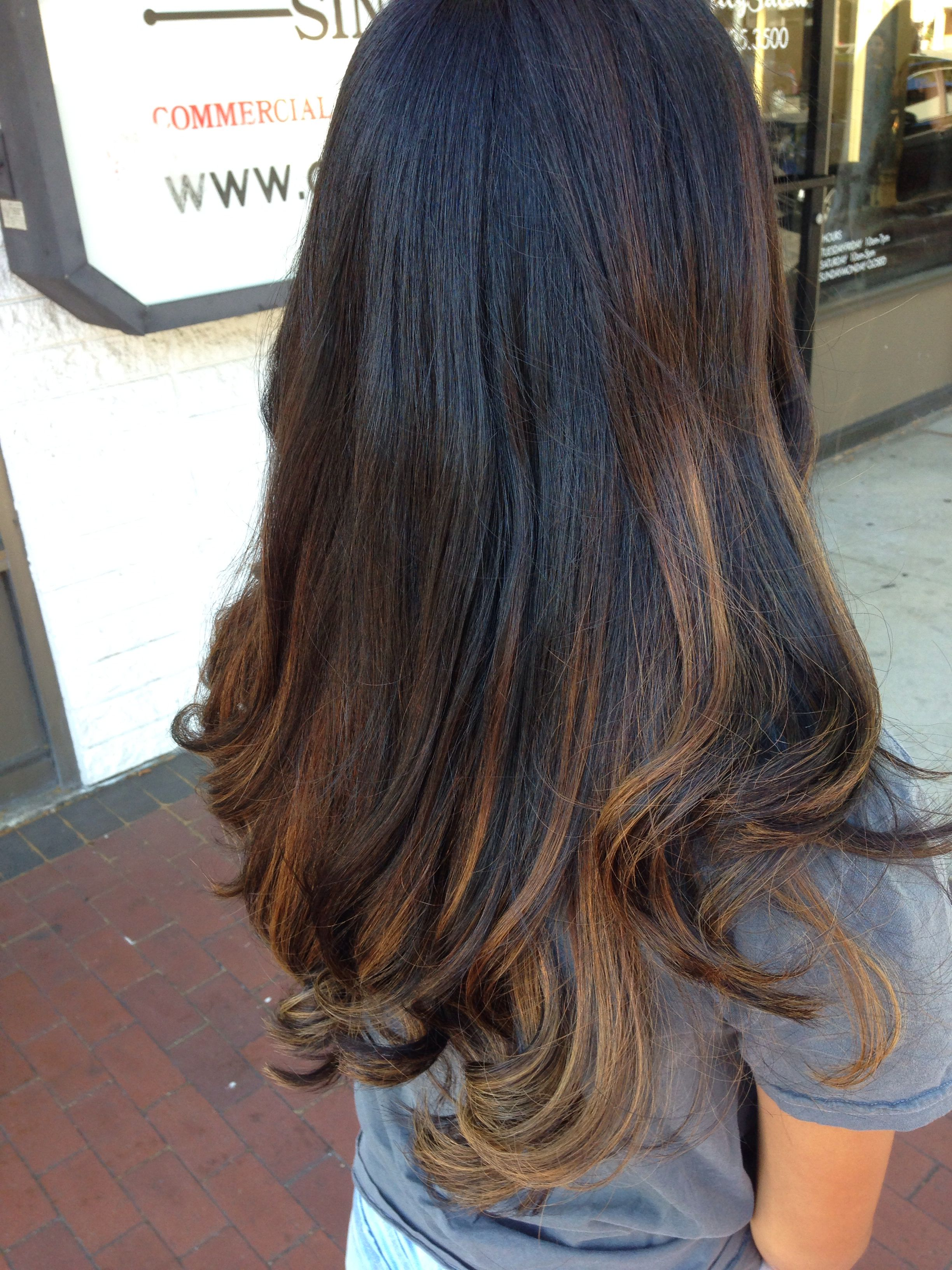 Baylage Highlights On Black Hair My Hair Done On 7 19 14 Hair Styles Baylage Hair Black Hair With Highlights