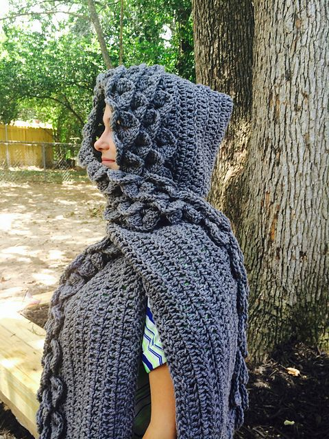 Ravelry: Crocodile Stitch Hooded Scarf pattern by Celeste Richmon ...