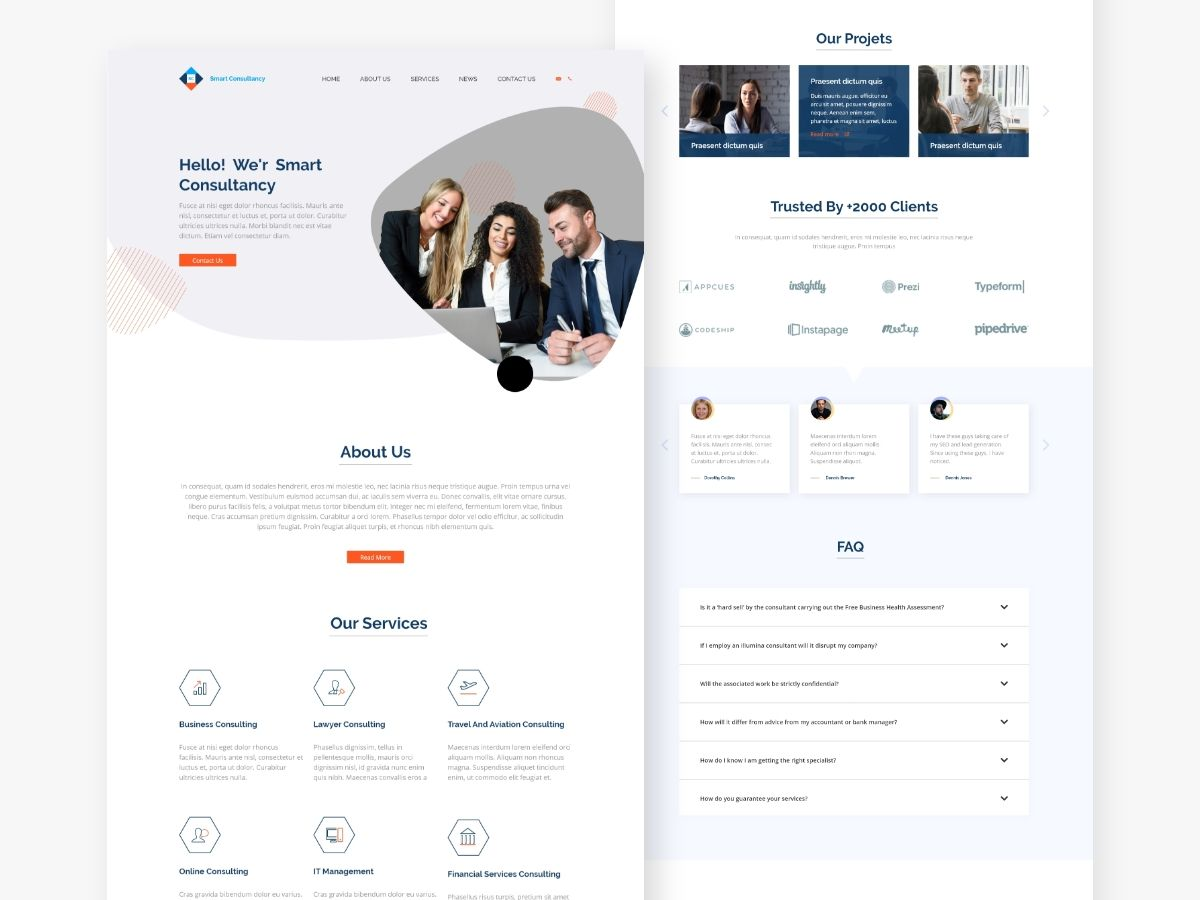 Free Consultant Landing Page Xd Landing Page Landing Page Design Website Template