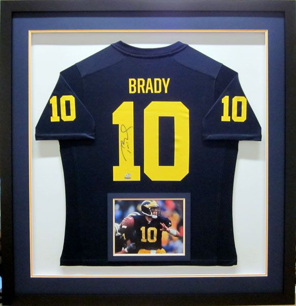 new product e5ec2 3d0dd Tom Brady University of Michigan Signed Jersey. Framed by ...
