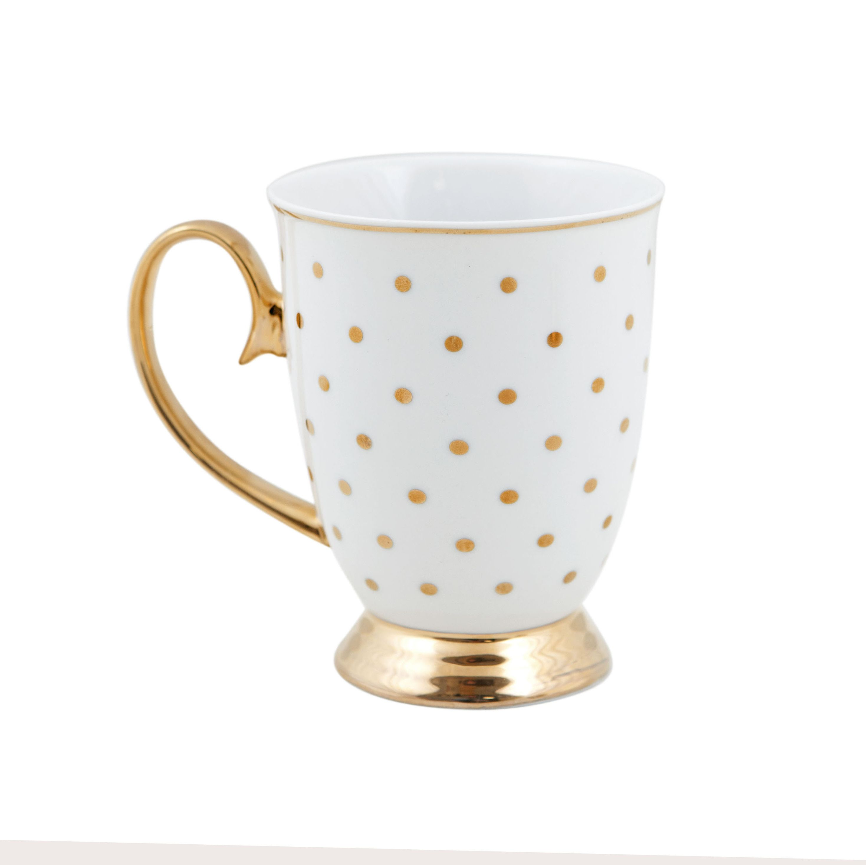 """Upplev High Tea i stil med detta Designer Tea Ware från Cristina Re . Denna vackra magiska samling , """" High Society """" , är inspirerad av en svunnen tid av elegans , förfining och glamour . Tillverkade av finaste kvalitet porslin och dekorerade med glänsande 24karat guld- Du kan vara säker på att glädja dina gäster med denna vackra design . Mixa och matcha Tekannor, Tekoppar , Tårtställning, tallrikar , muggar och andra tillbehör från Designer Tabell Ware Collection"""
