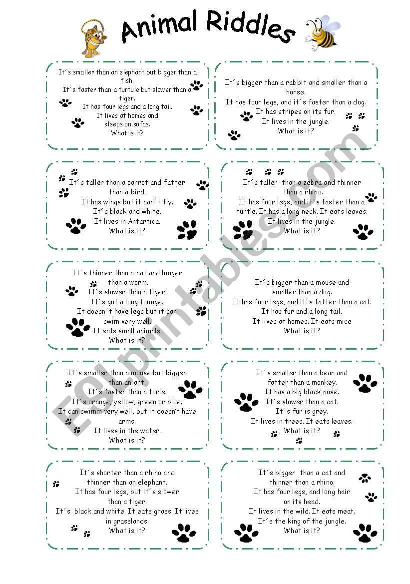 animal riddles worksheet teaching english animal riddles riddles animal worksheets. Black Bedroom Furniture Sets. Home Design Ideas