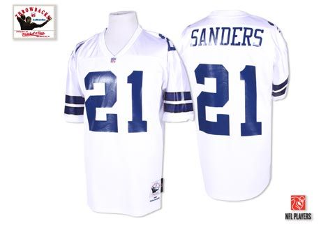premium selection 38fa0 f07bf Mitchell & Ness 1995 Cowboys #21 Deion Sanders White ...