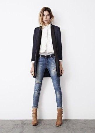 d30d6367e6e Women's Black Coat, White Dress Shirt, Blue Ripped Skinny Jeans, Tan Suede  Ankle Boots