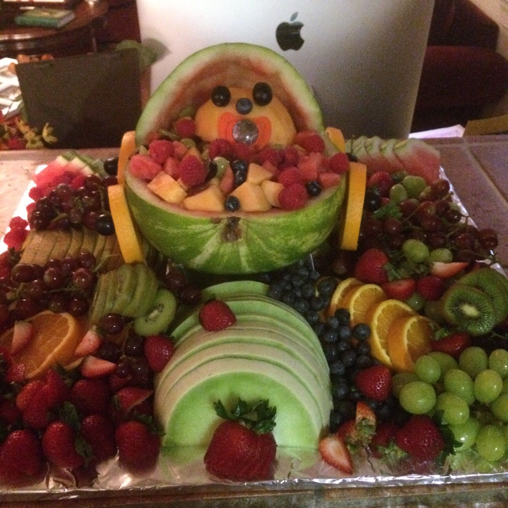 Baby shower fruit tray idea. Did this for her daughter in-laws baby shower!