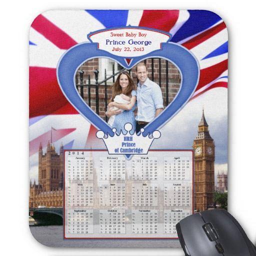 2014 Royal British Baby Prince George Calendar Mousepad