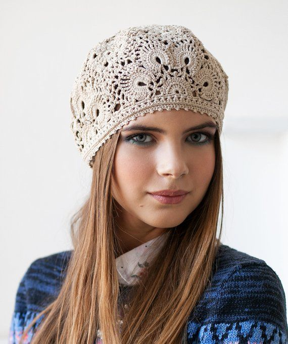 1d88174f545 Womens hat Hats for women Crochet hat Summer hat Lace caps Hat summer  Cotton beret hat Summer beanie