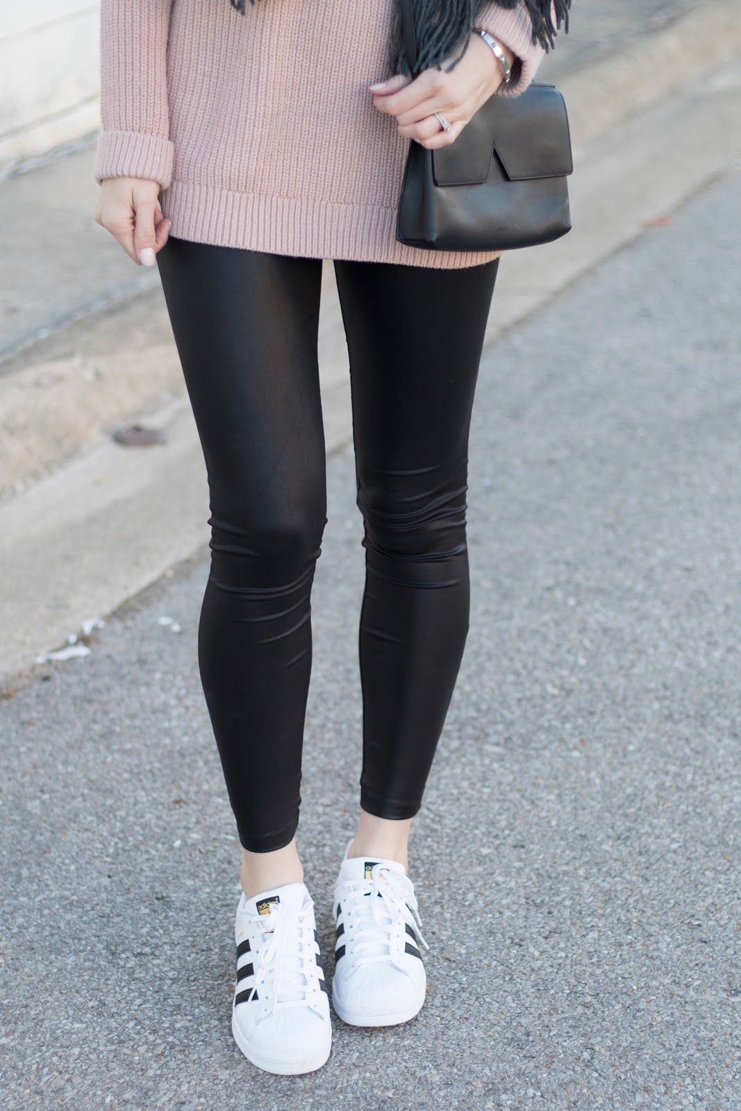 139099dbff42e Leather leggings + Adidas sneakers. Leather leggings + Adidas sneakers  Leather Leggings Outfit, Leather Pants, Adidas Shoes ...