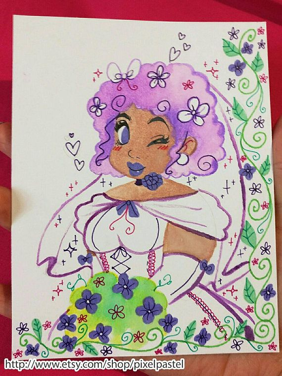Check out this item in my Etsy shop https://www.etsy.com/listing/532772198/cute-chubby-purple-haired-bride-water